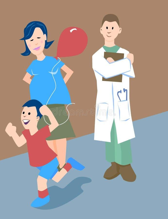 sjukhusvisit royaltyfri illustrationer