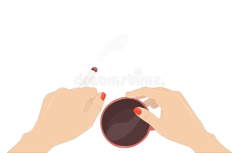 Sjuklig vana` för ` - två händer av kvinna med kort målat rött spikar att rymma en brinnande cigarett och en kopp kaffe stock illustrationer