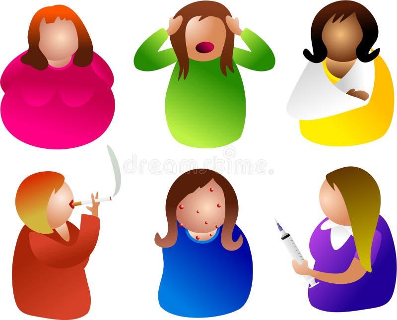 sjukliga kvinnor stock illustrationer