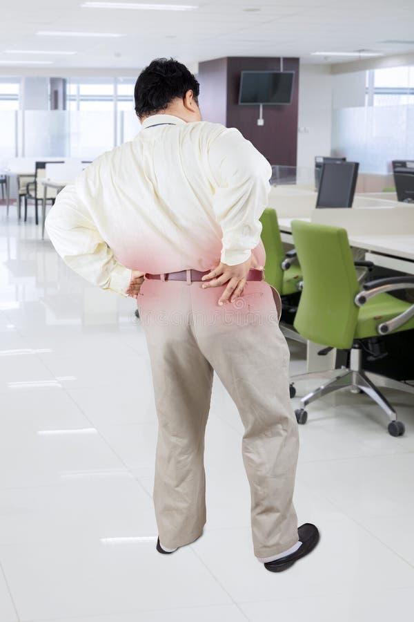 Sjukligt fet affärsman som har ryggvärk i kontoret fotografering för bildbyråer