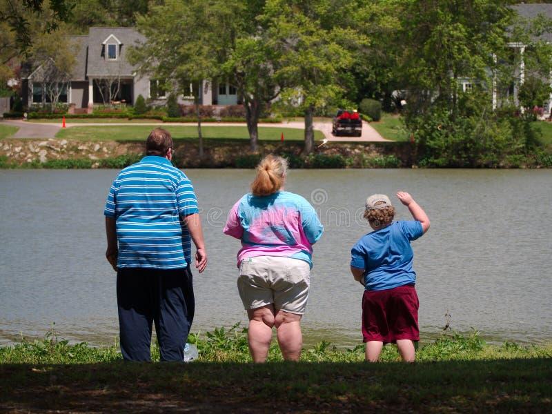 Sjukligt fet familj arkivbild