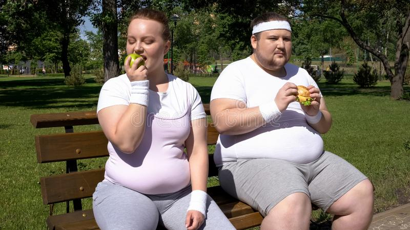 Sjukligt fet man som äter hamburgaren, den feta flickan som beundrar äpplet, val av skräp eller sund mat arkivbilder