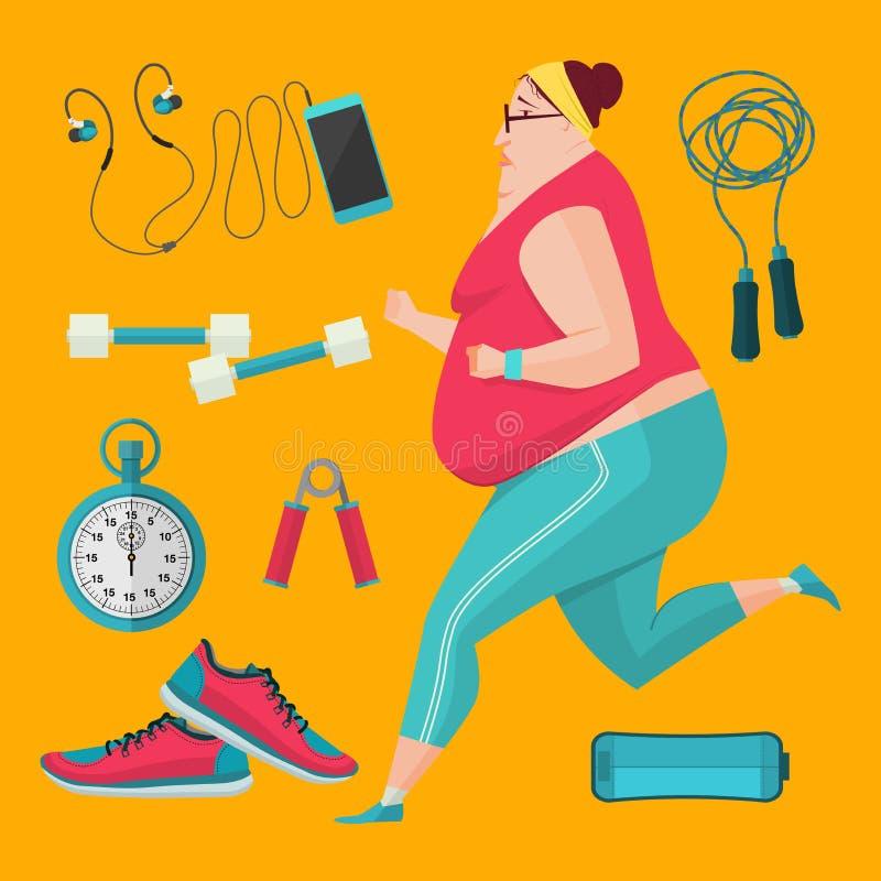 Sjukligt feta kvinnor som joggar för att förlora vikt royaltyfri illustrationer