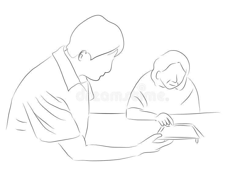 Sjukskötare som anhörigvårdare av åldringen vektor illustrationer