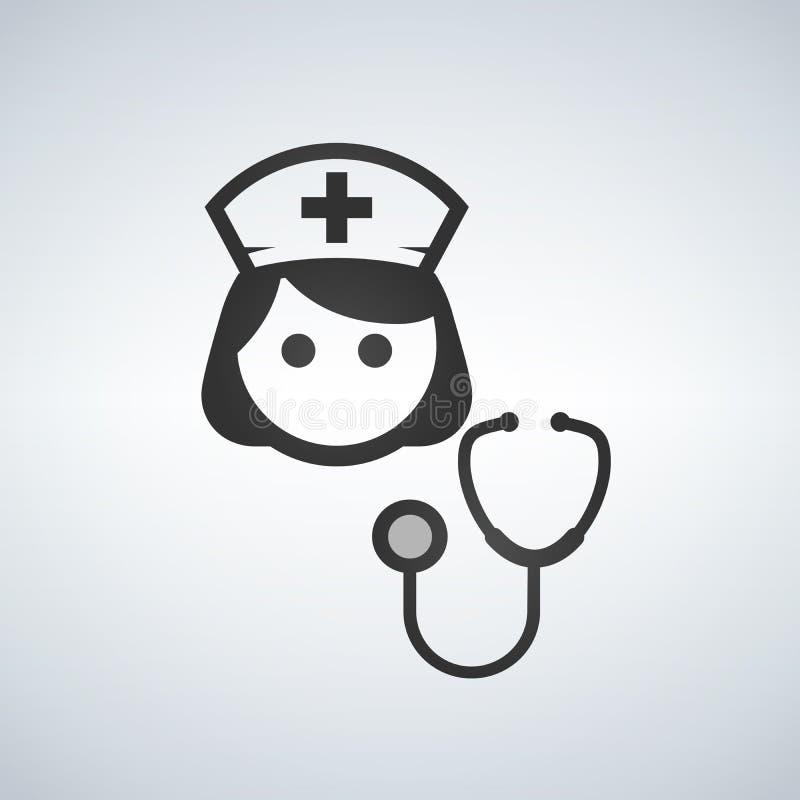 Sjuksköterska Icon - medicinsk assistent för vektor med stetoskopet och locket för hälsovårdservice stock illustrationer