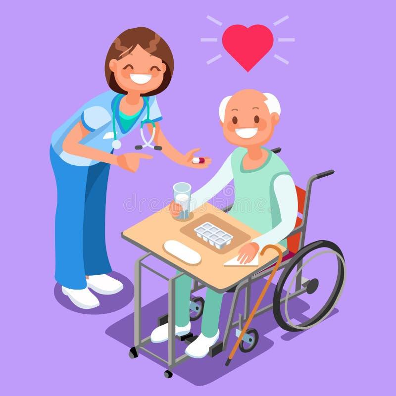 Sjuksköterska med patienten i för folktecknad film för sjukhus isometrisk vektor stock illustrationer