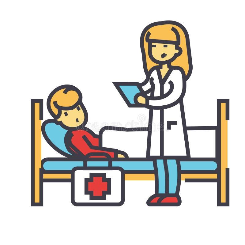 Sjuksköterska och patient, doktor, klinik, sjukhusbegrepp stock illustrationer