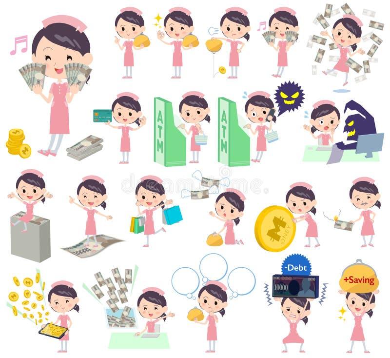 Sjuksköterska About pengarna stock illustrationer