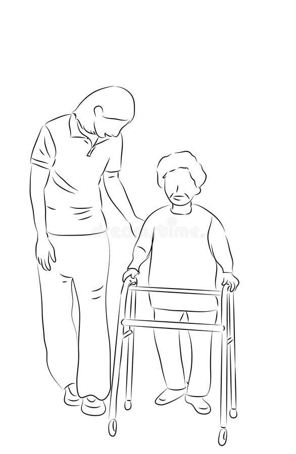 Sjuksköterska som att bry sig för åldring på att gå vektor illustrationer