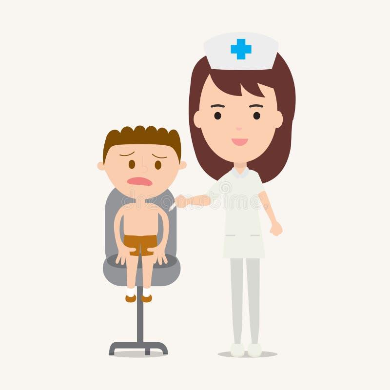 Sjuksköterska som ger vaccineringinjektionen till pojken stock illustrationer