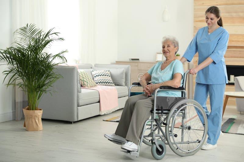 Sjuksköterska som inomhus hjälper den äldre kvinnan i rullstol arkivfoton