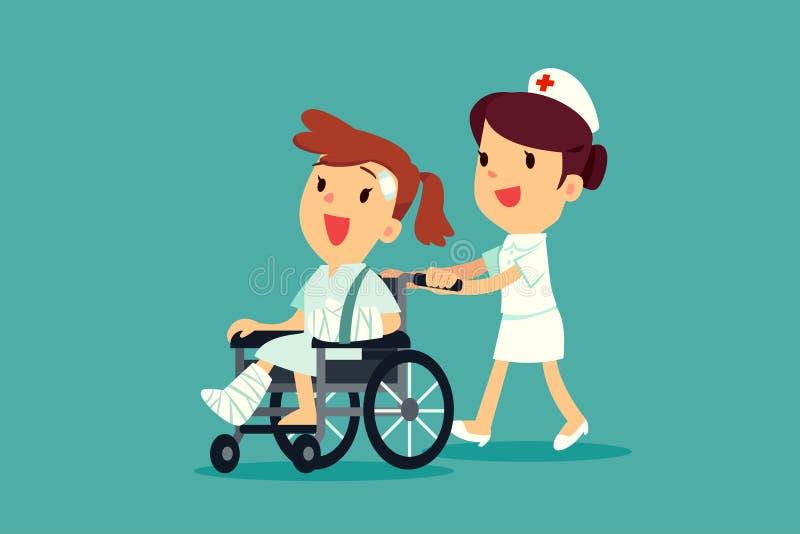 Sjuksköterska som skjuter den sårade kvinnan på rullstolen vektor illustrationer