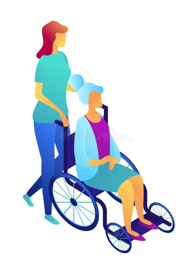 Sjuksköterska som skjuter rullstolen med den isometriska illustrationen 3D för äldre kvinna vektor illustrationer