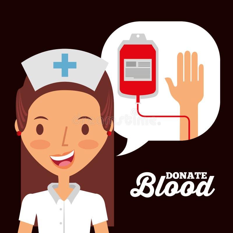 Sjuksköterskaanförandebubblan med iv-påsen donerar blodinbjudankortet stock illustrationer