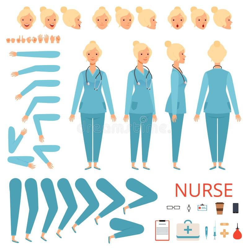 Sjuksköterskaanimeringtecken Kvinnliga doktorskroppsdelar för sjukhus och yrkesmässig sats för skapelse för objektvektormaskot stock illustrationer