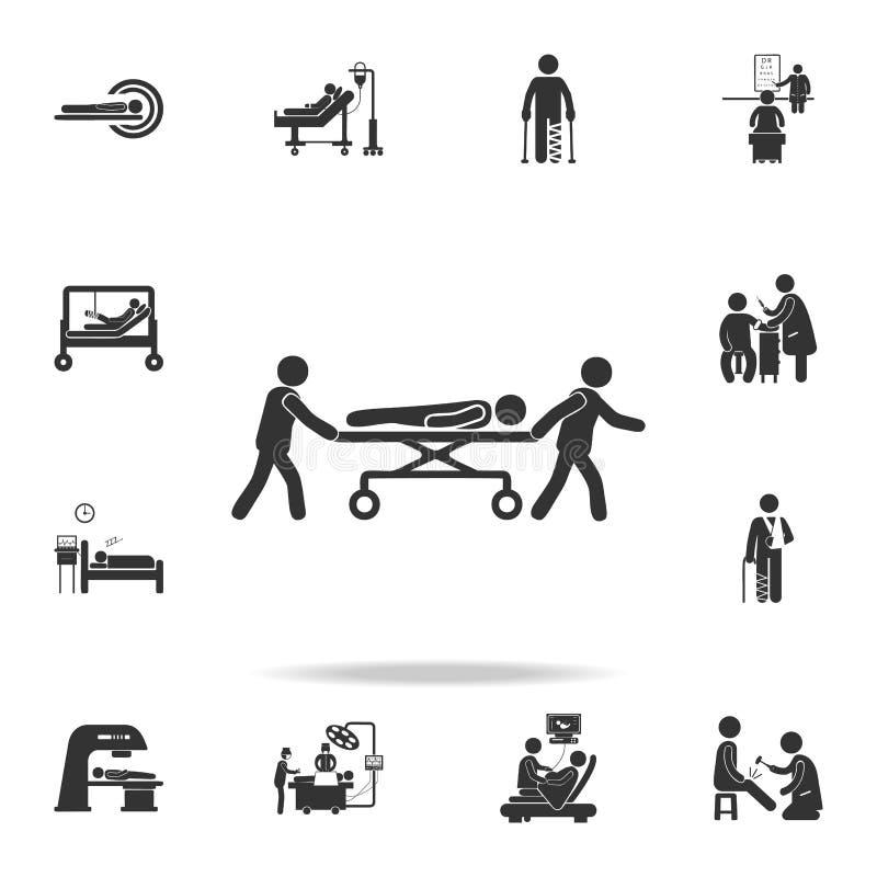 Sjuksköterskaledningspatient i gurneyillustrationsymbol Detaljerad uppsättning av medicinbeståndsdelillustrationen Högvärdig kval stock illustrationer