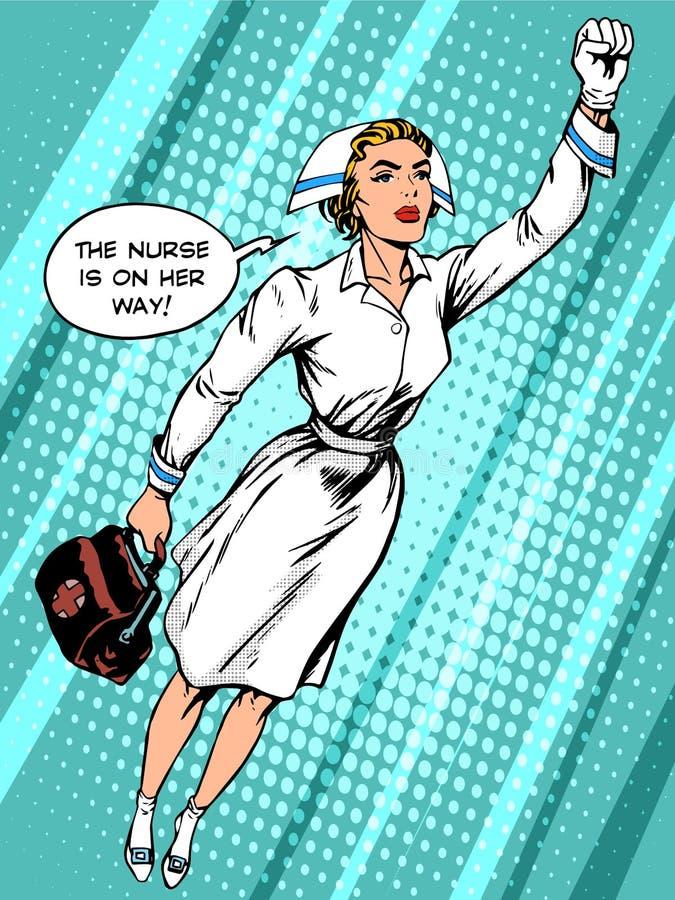 Sjuksköterskan för den toppna hjälten flyger till räddningsaktionen royaltyfri illustrationer