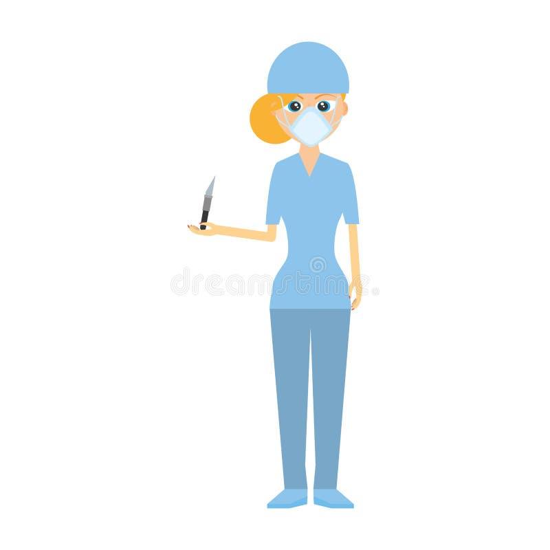 sjuksköterskapersonalskalpell och maskeringsläkarundersökning royaltyfri illustrationer