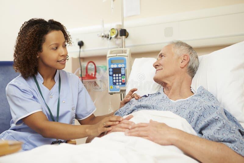 SjuksköterskaSitting By Male patients säng i sjukhus royaltyfri fotografi