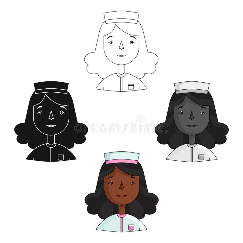 Sjuksköterskasymbol i tecknade filmen, svart stil som isoleras på vit bakgrund Folk av den olika vektorn f?r yrkesymbolmateriel stock illustrationer