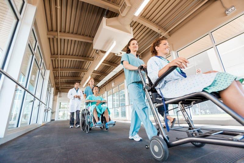 Sjuksköterskor som skjuter patienter på rullstolar med doktorn arkivbilder