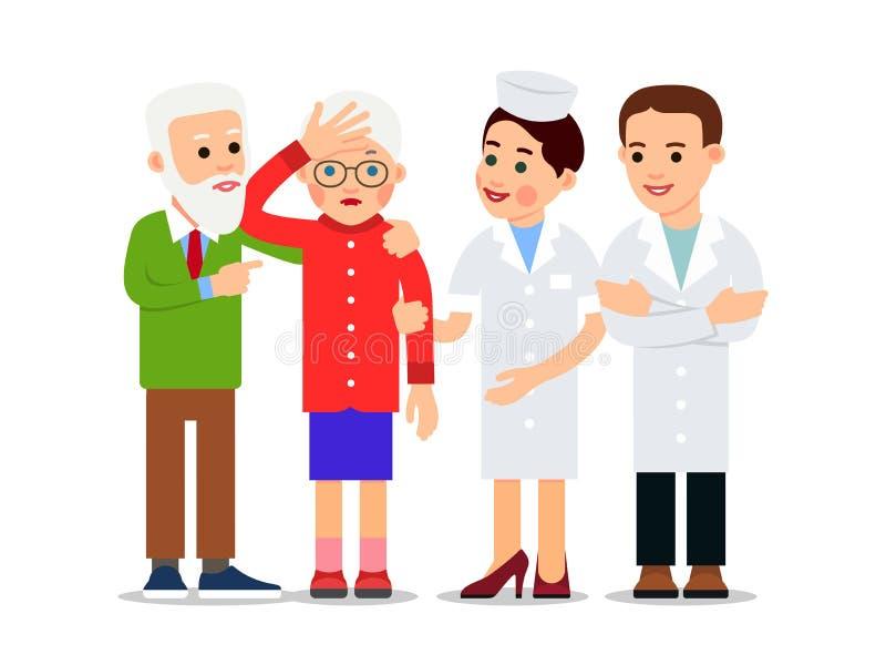 Sjuksk?terska och t?lmodig Den äldre mannen stöttar den sjuka kvinnan som har en huvudvärk Närliggande är sjuksköterskan och dokt royaltyfri illustrationer