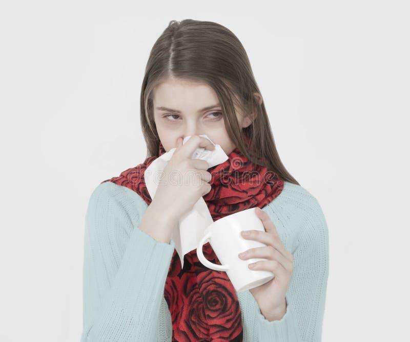 sjukt barn för flicka arkivfoton