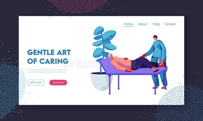 Sjukvård av att inaktivera högt folk, sjukgymnastikservice i vårdhem Sjuksköterska eller doktor Checkup Old Woman som ligger på s stock illustrationer