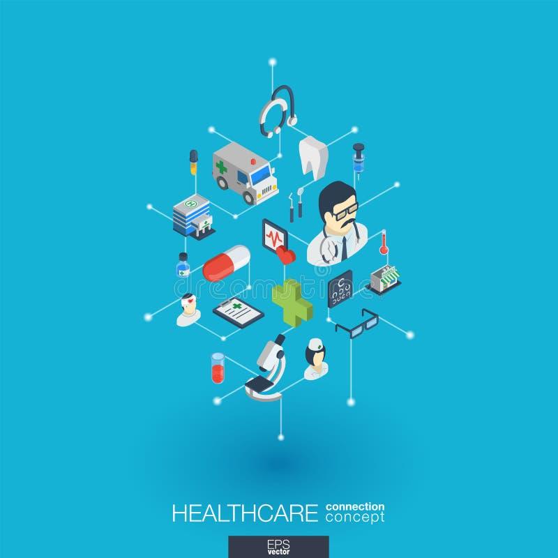 Sjukvård inbyggda symboler för rengöringsduk 3d Isometriskt begrepp för Digitalt nätverk royaltyfri illustrationer