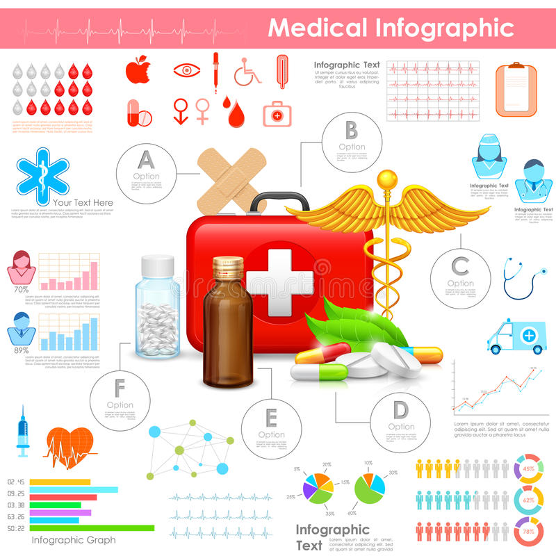 Sjukvård och läkarundersökning Infographic vektor illustrationer