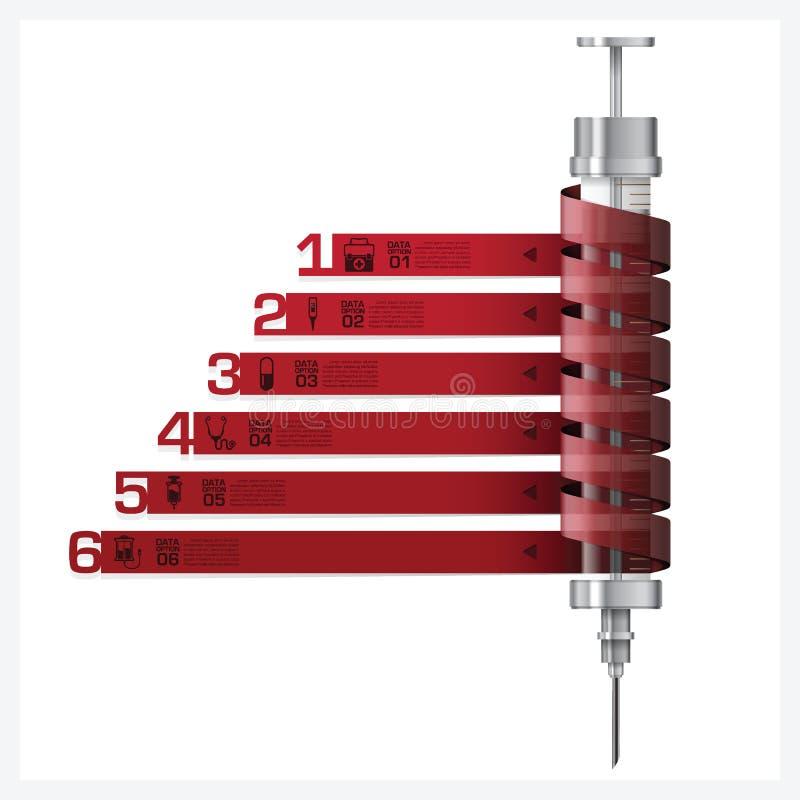 Sjukvård och läkarundersökning med injektionssprutaspiraletiketten Infographic Diagr royaltyfri illustrationer