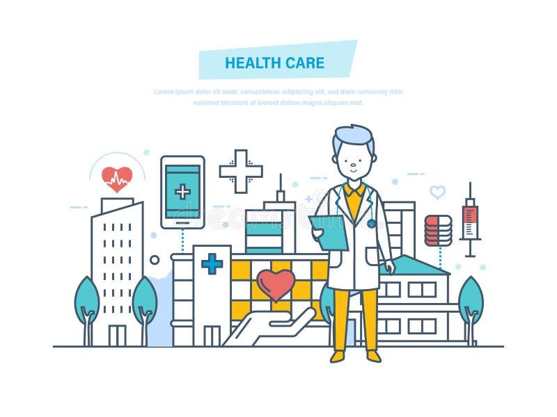Sjukvård och medicinsk hjälp Medicinsk institution, sjukhus, byggnad, klinik vektor illustrationer