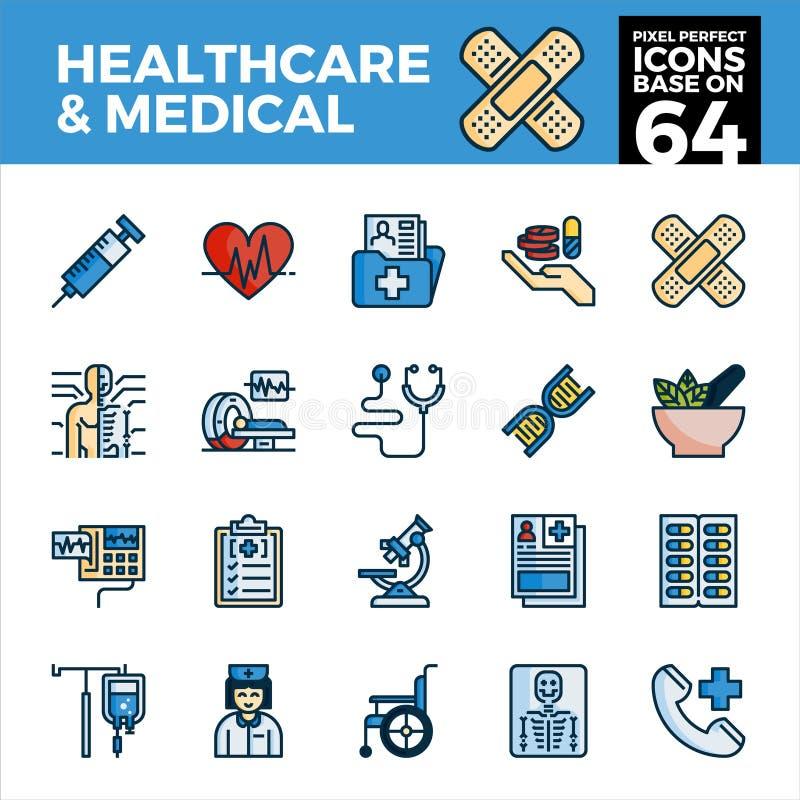 Sjukvård och perfekta symboler för medicinskt PIXEL vektor illustrationer