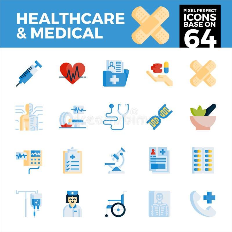 Sjukvård och perfekta symboler för medicinskt PIXEL royaltyfri illustrationer