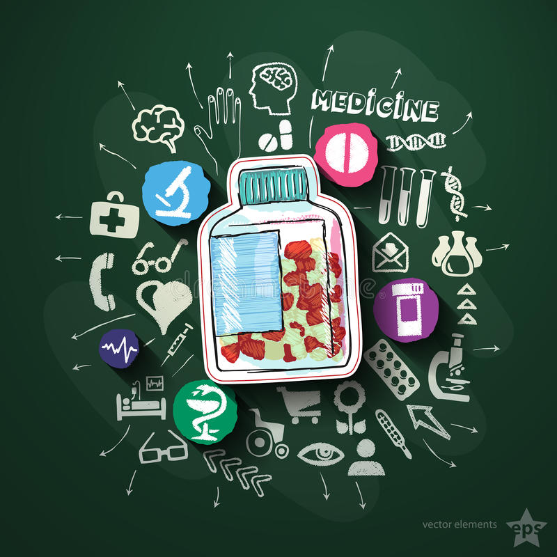 Sjukvårdcollage med symboler på svart tavla vektor illustrationer