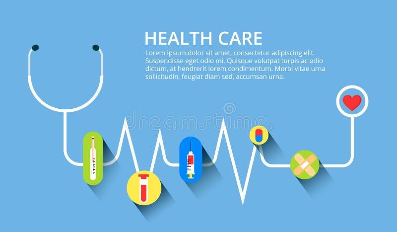 Sjukvården stetoskopet, kardiogrammet, vård- övervakning, begrepp ställde in Moderna plana designbegrepp för rengöringsdukbaner,  arkivbilder