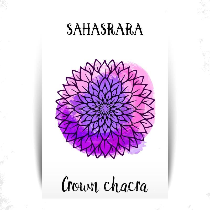Sjunde kronachakra - Sahasrara Illustration av en av de sju chakrasna Symbolet av Hinduism, buddism Violett vattenf?rg vektor illustrationer