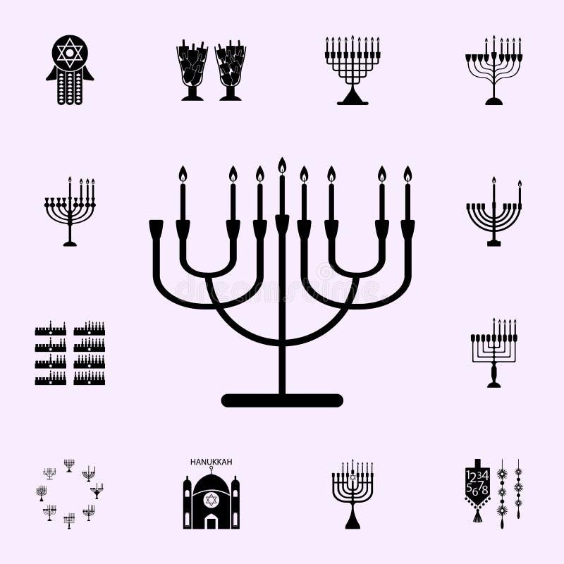 sjunde natt av Chanukkahsymbolen Universell upps?ttning f?r Chanukkahsymboler f?r reng?ringsduk och mobil vektor illustrationer