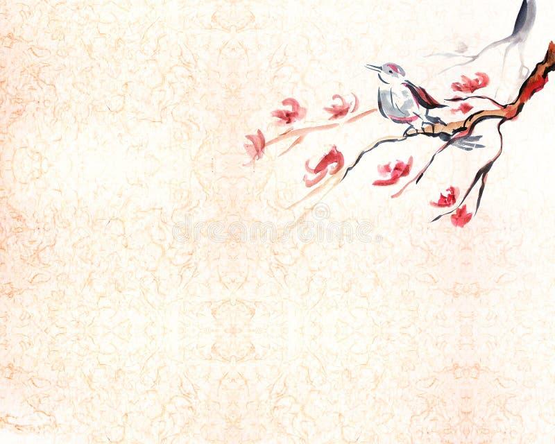 sjunga för bakgrundsfågel stock illustrationer