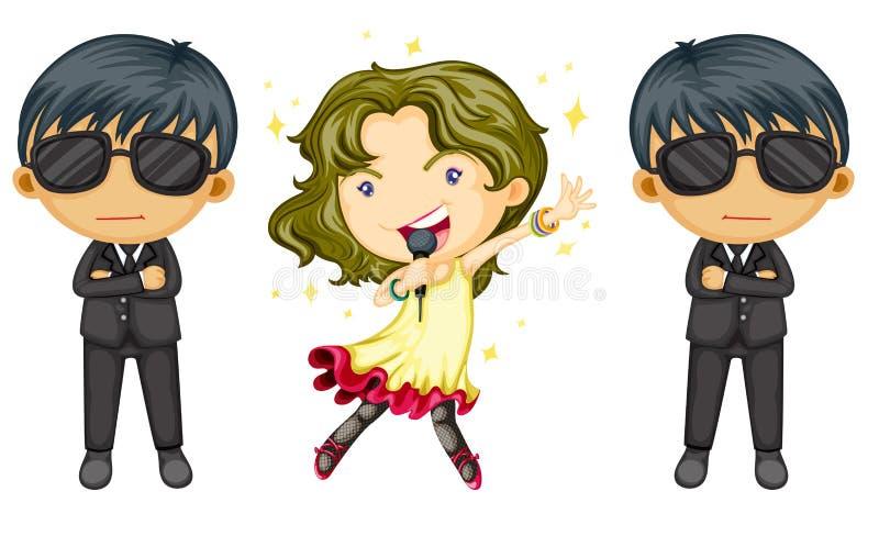 sjunga för flicka royaltyfri illustrationer