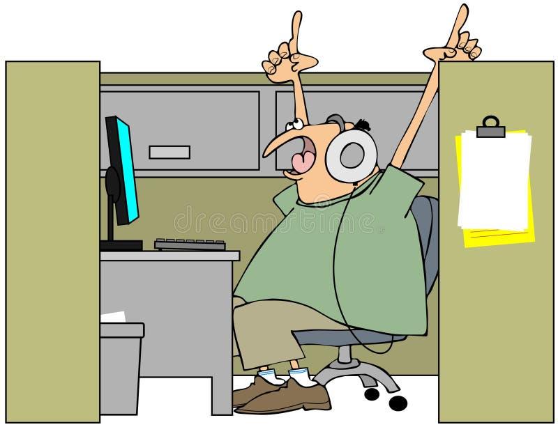 Sjunga i cubiclen stock illustrationer