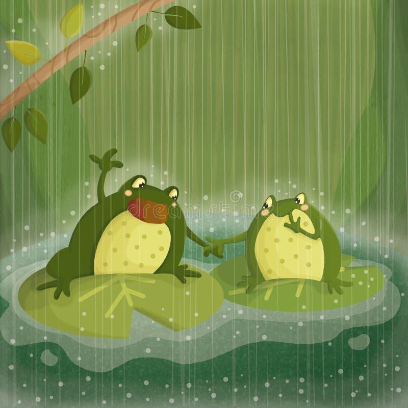 Sjunga i regna royaltyfri illustrationer