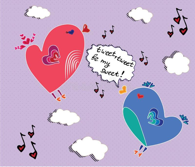 Sjungande älskvärd sång för fåglar vektor illustrationer