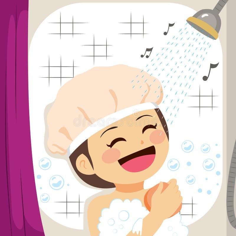 Sjungande dusch för flicka vektor illustrationer