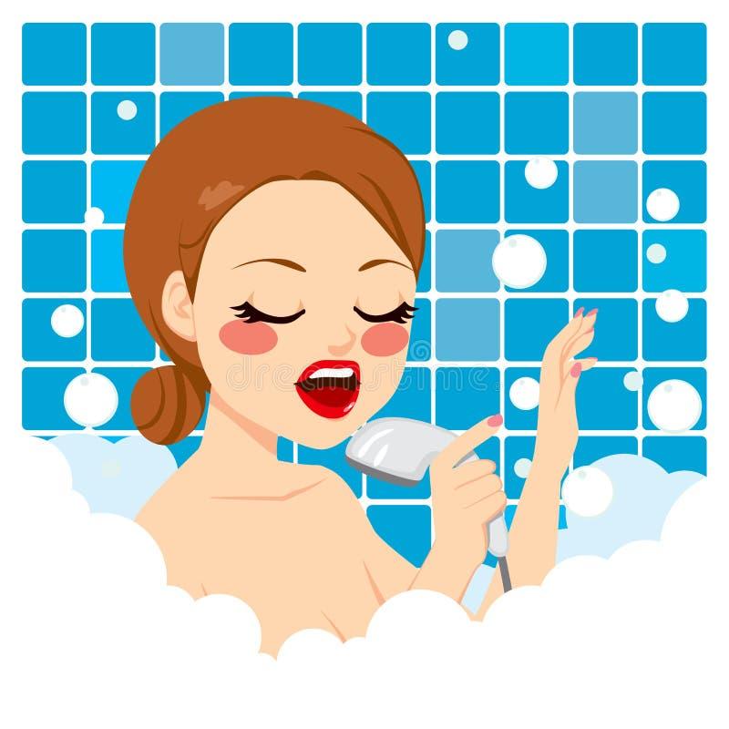 Sjungande dusch för kvinna vektor illustrationer