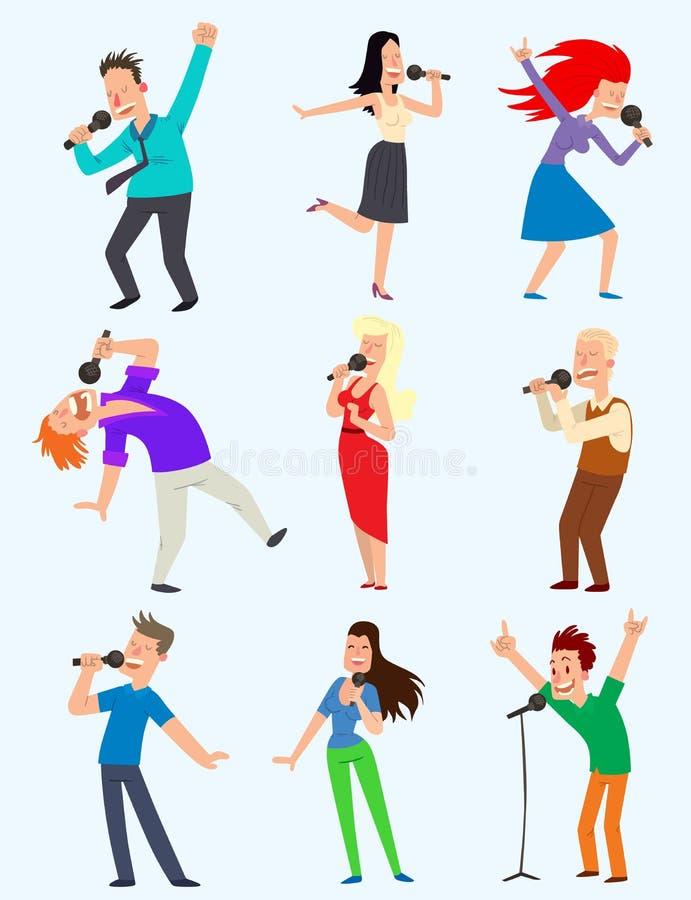 Sjungande folk för gladlynt företags parti med mikrofonen karaoke för tecken för vektormusikerkonstnär, dansa för sånger stock illustrationer