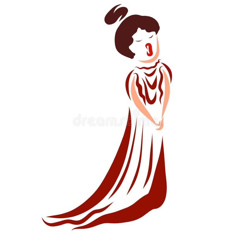 Sjungande kvinna i en lång klänning, opera stock illustrationer