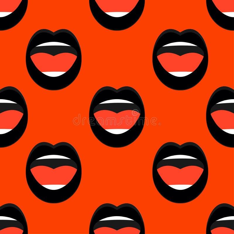 Sjungande kvinnas munnar stock illustrationer