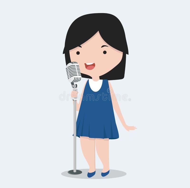 Sjungande sång för liten flicka royaltyfri illustrationer