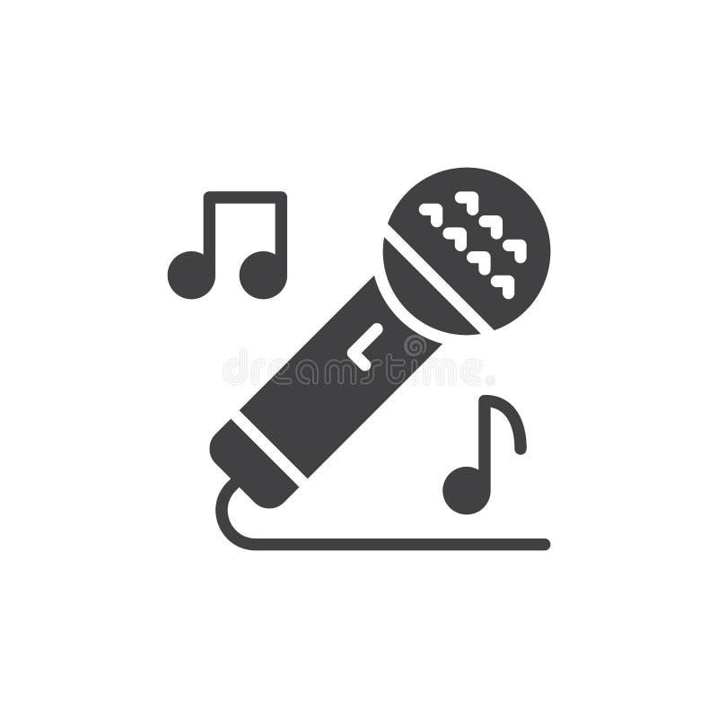 Sjungande symbolsvektor för karaoke, fyllt plant tecken, fast pictogram som isoleras på vit royaltyfri illustrationer